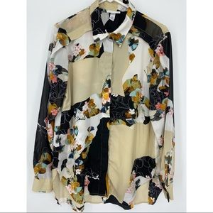 3.1 Phillip Lim Floral Button Up Blouse Large